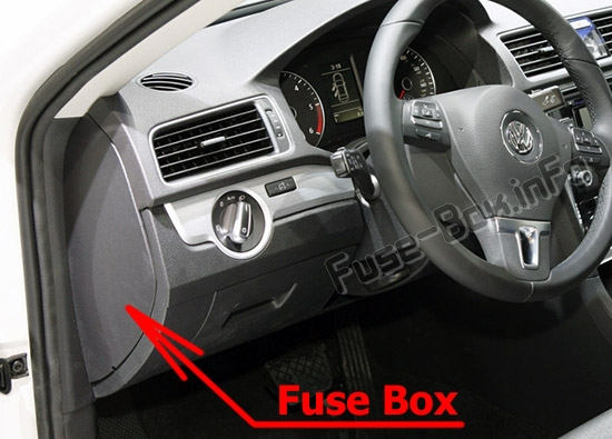 The location of the fuses in the passenger compartment: Volkswagen Passat B7 (2011-2015)