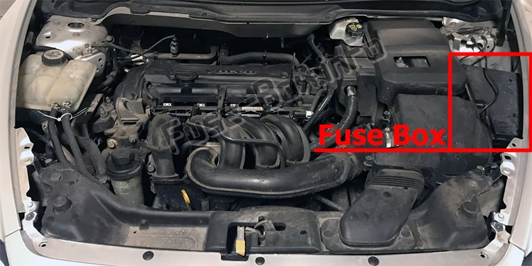 The location of the fuses in the engine compartment: Volvo C30 (2007-2013)