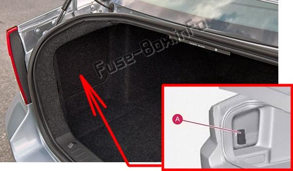 La ubicación de los fusibles en el maletero: Volvo S80 (2011-2016)
