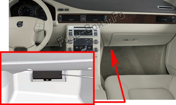The location of the fuses in the passenger compartment: Volvo V70 / XC70 (2008-2010)
