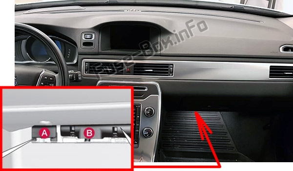 The location of the fuses in the passenger compartment: Volvo V70 / XC70 (2011-2016)