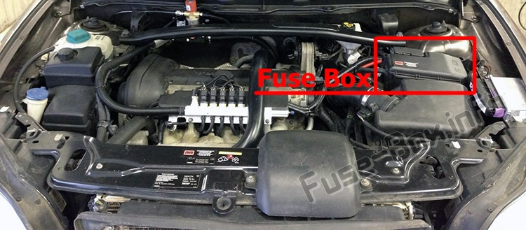 The location of the fuses in the engine compartment: Volvo XC90 (2008-2014)