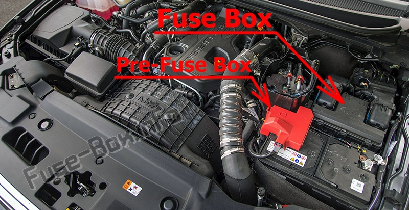 The location of the fuses in the engine compartment: Ford Everest (2015-2019..)