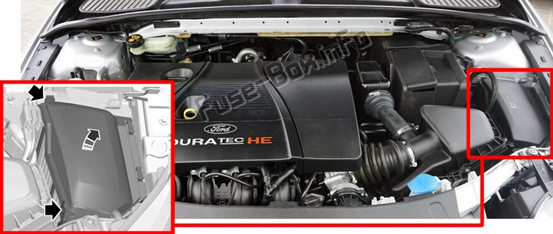 The location of the fuses in the engine compartment: Ford Mondeo (Mk4; 2010-2014)