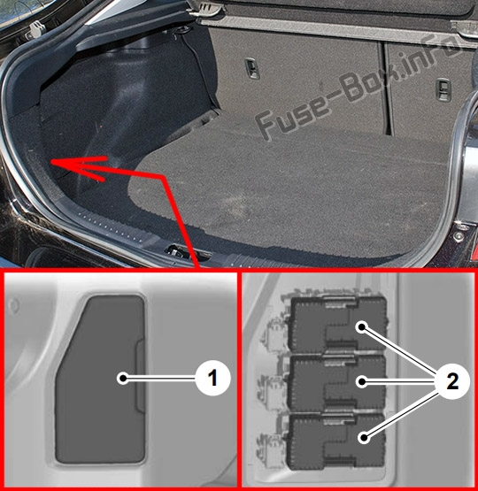 The location of the fuses in the trunk (5-door): Ford Mondeo (Mk4; 2010-2014)