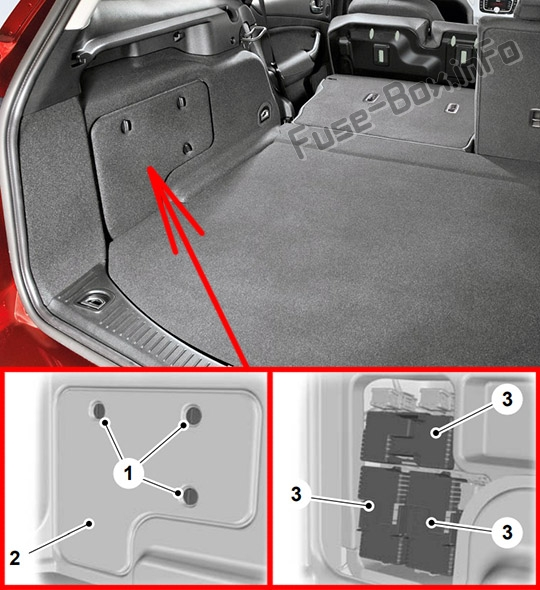 The location of the fuses in the trunk (Wagon): Ford Mondeo (Mk4; 2010-2014)