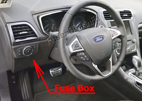 The location of the fuses in the passenger compartment: Ford Mondeo (Mk5; 2015-2019..)