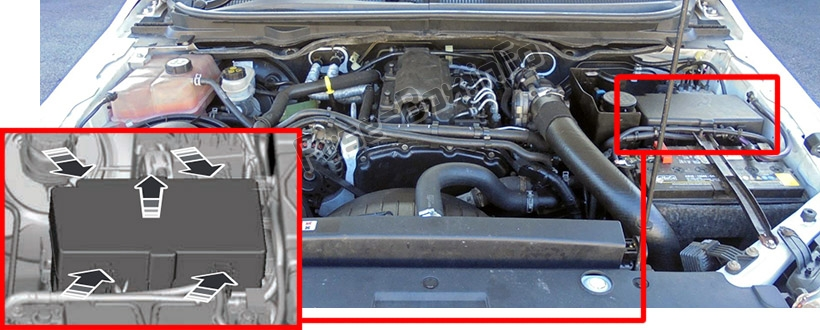 The location of the fuses in the engine compartment: Ford Ranger (2012-2015)