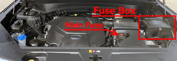 The location of the fuses in the engine compartment: Kia Telluride (2020-..)