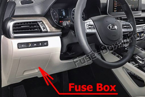 The location of the fuses in the passenger compartment: Kia Telluride (2020-..)