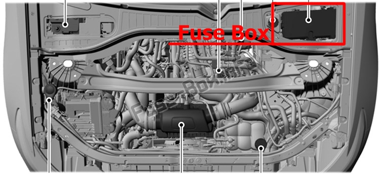 The location of the fuses in the engine compartment: Lincoln Aviator (2020-...)