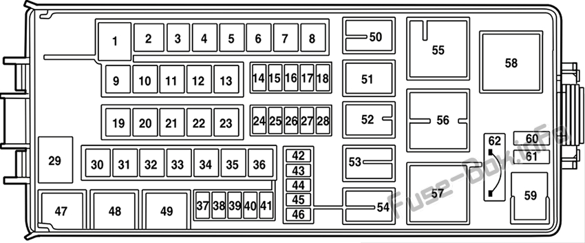 Under-hood fuse box diagram: Lincoln Aviator (2003, 2004, 2005)