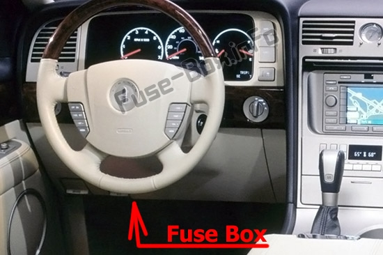 The location of the fuses in the passenger compartment: Lincoln Aviator (2003, 2004, 2005)