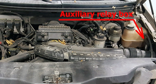 Auxiliary relay box (location): Lincoln Mark LT (2006, 2007, 2008)