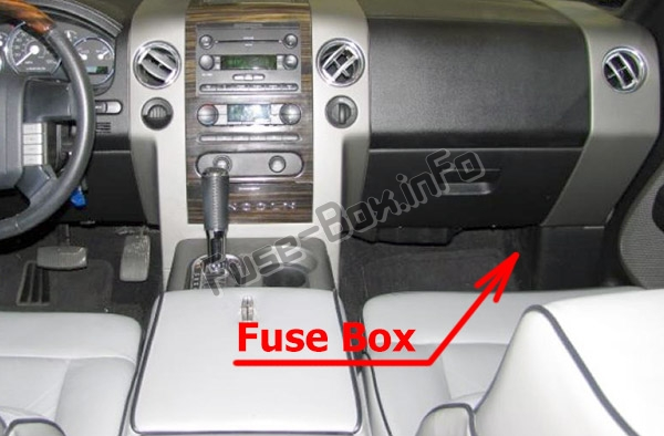 The location of the fuses in the passenger compartment: Lincoln Mark LT (2006, 2007, 2008)