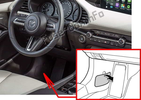The location of the fuses in the passenger compartment: Mazda 3 (2019-..)