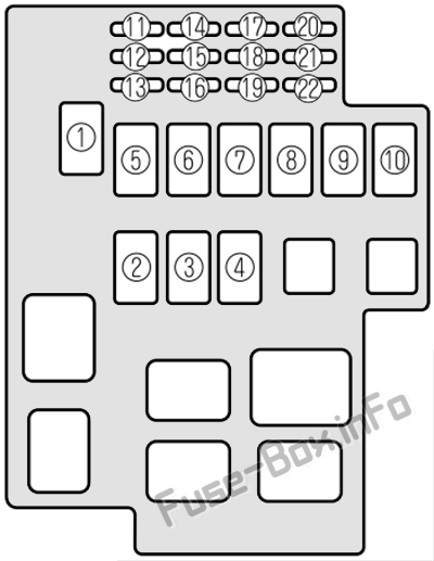 Under-hood fuse box diagram: Mazda Millenia (2000, 2001, 2002)