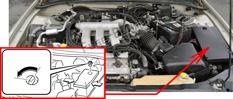 The location of the fuses in the engine compartment: Mazda Millenia (2000, 2001, 2002)