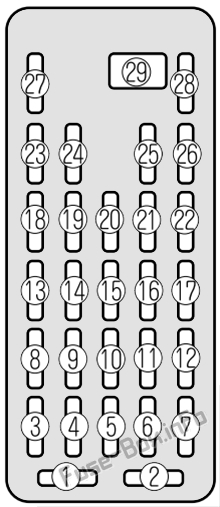 Interior fuse box diagram: Mazda Millenia (2000, 2001, 2002)