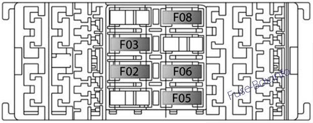 Trunk fuse box diagram: Jeep Compass (2017, 2018, 2019...)