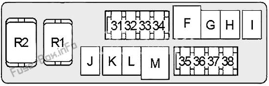 Under-hood fuse box #2 diagram: Nissan 350Z (2003, 2004, 2005, 2006, 2007, 2008)