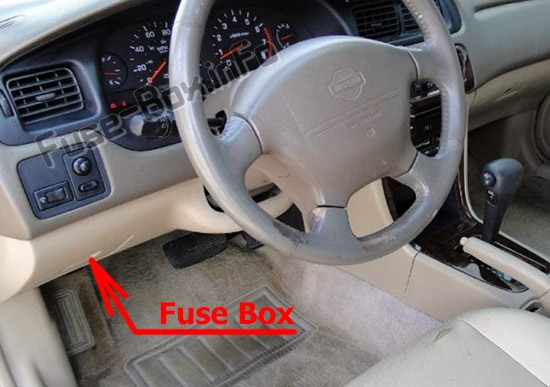 The location of the fuses in the passenger compartment: Nissan Altima (1998-2001)