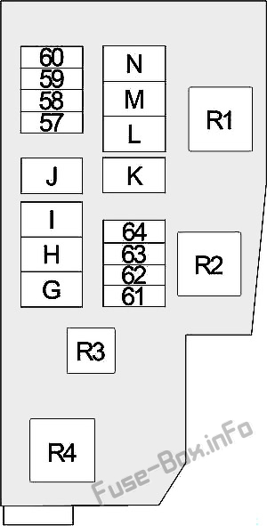 Under-hood fuse box #2 diagram: Nissan Altima (2013, 2014, 2015, 2016, 2017, 2018)