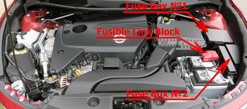 The location of the fuses in the engine compartment: Nissan Altima (2013-2018)