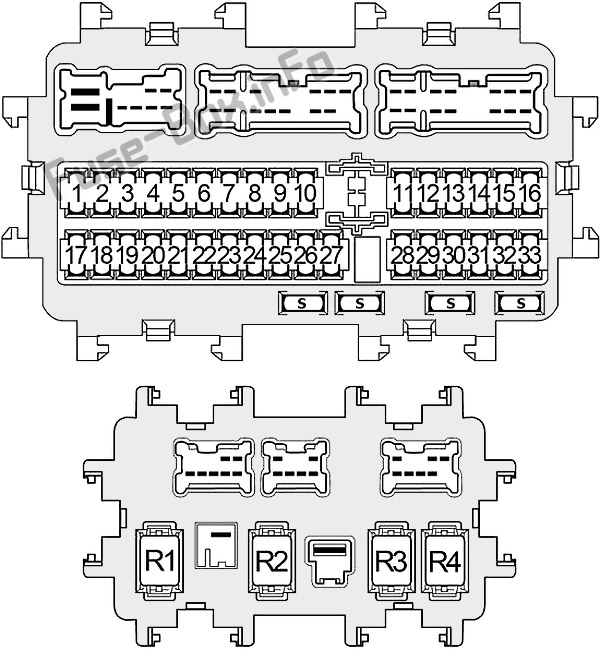 Instrument panel fuse box diagram: Nissan Altima (2013, 2014, 2015, 2016, 2017, 2018)