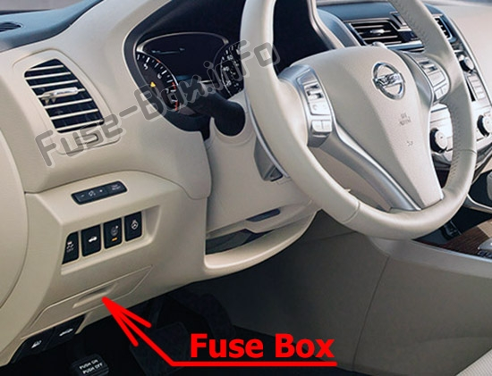 The location of the fuses in the passenger compartment: Nissan Altima (2013-2018)