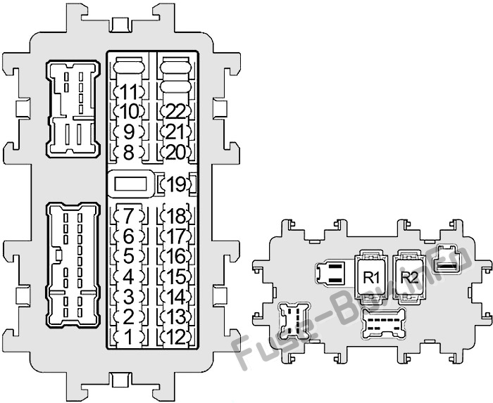 Instrument panel fuse box diagram: Nissan Frontier (2005, 2006, 2007, 2008, 2009)