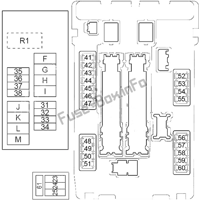 Under-hood fuse box diagram: Nissan Murano (2009, 2010, 2011, 2012, 2013, 2014)