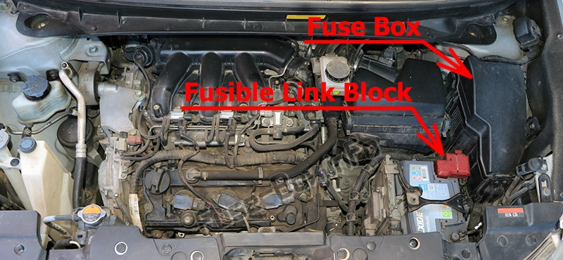 The location of the fuses in the engine compartment: Nissan Murano (2009-2014)