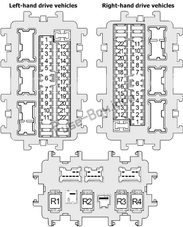 Instrument panel fuse box diagram: Nissan Murano (2009, 2010, 2011, 2012, 2013, 2014)
