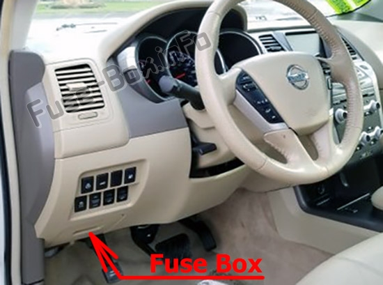 The location of the fuses in the passenger compartment: Nissan Murano (2009-2014)