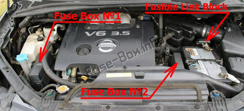 The location of the fuses in the engine compartment: Nissan Quest (2004-2009)