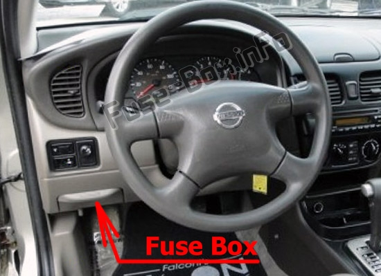 The location of the fuses in the passenger compartment: Nissan Sentra (2000-2006)