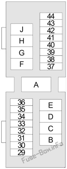 Under-hood fuse box diagram: Nissan Xterra (1999, 2000, 2001, 2002, 2003, 2004)