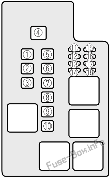 Under-hood fuse box diagram: Mazda 626 (2000, 2001, 2002)