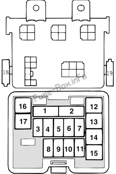 Instrument panel fuse box diagram: Mitsubishi L200 (2002, 2003, 2004, 2005)