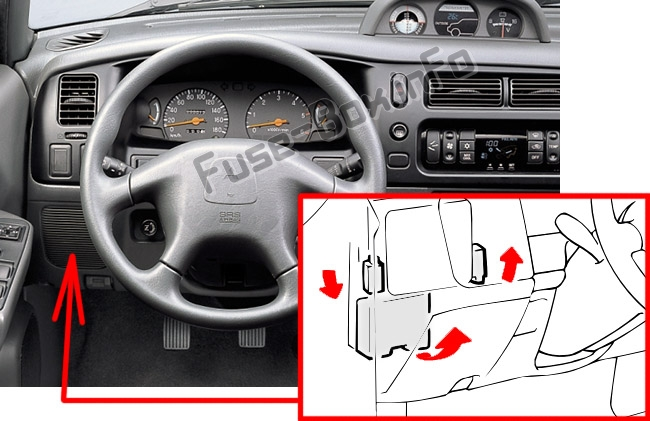 The location of the fuses in the passenger compartment: Mitsubishi L200 (2002, 2003, 2004, 2005)