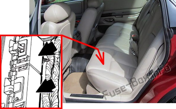 The location of the fuses in the passenger compartment: Oldsmobile Aurora (1997, 1998, 1999)