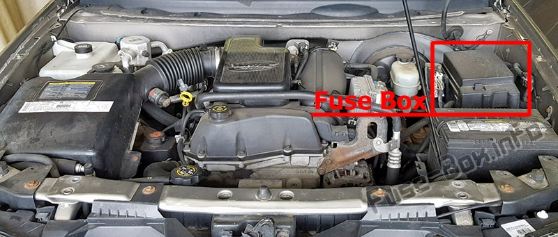 The location of the fuses in the engine compartment: Oldsmobile Bravada (2002, 2003, 2004)