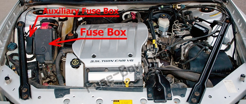 The location of the fuses in the engine compartment: Oldsmobile Intrigue (2000, 2001, 2002)