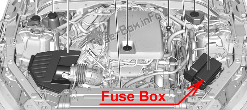 The location of the fuses in the engine compartment: Cadillac CT5 (2020)