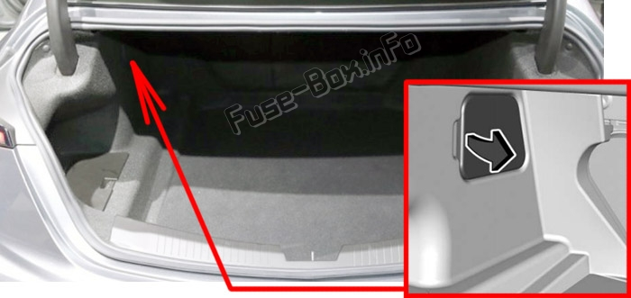The location of the fuses in the trunk: Cadillac CT5 (2020)