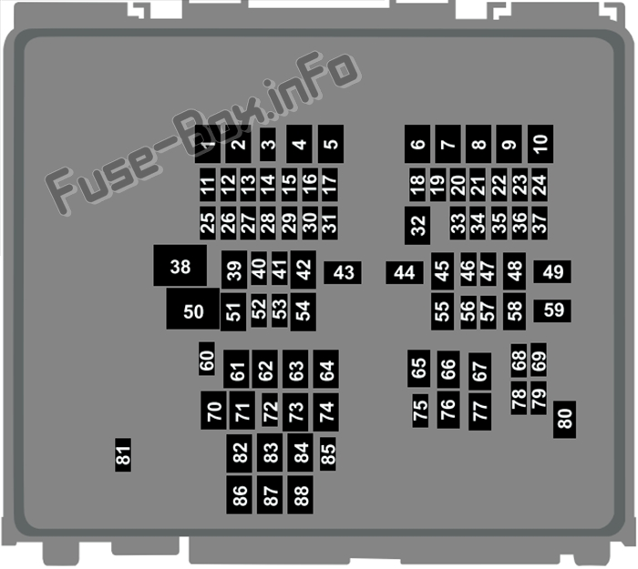 Under-hood fuse box diagram: Ford Escape (2020-..)