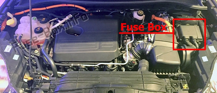 The location of the fuses in the engine compartment: Ford Escape (2020-..)