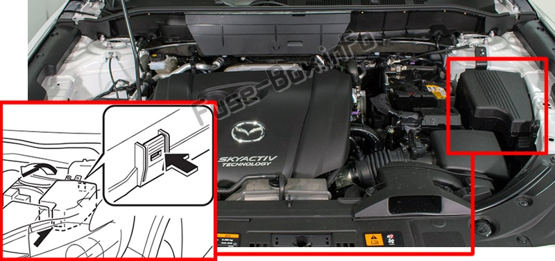 The location of the fuses in the engine compartment: Mazda CX-8 (2018)