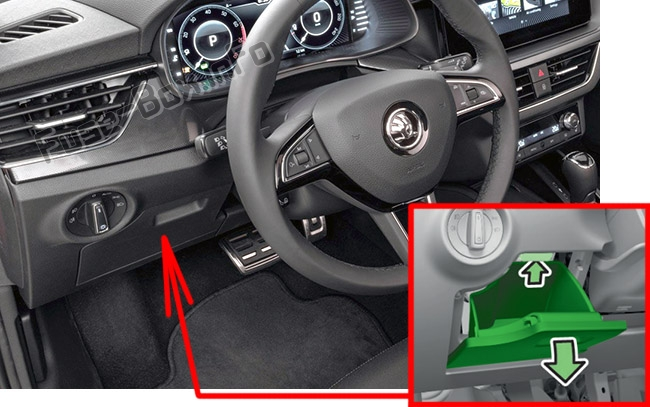 The location of the fuses in the passenger compartment: Skoda Kamiq / Scala (2019, 2020-..)